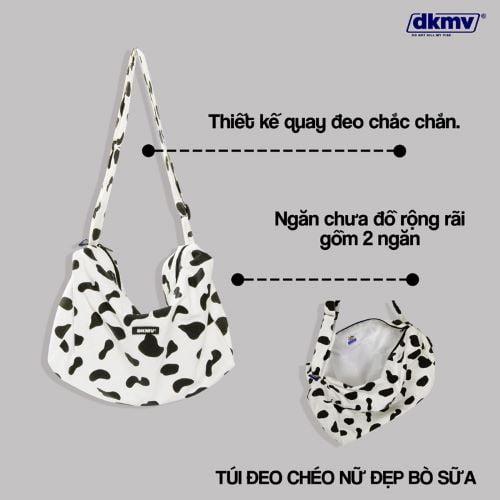 Tinh nghịch cùng túi đeo chéo họa tiết bò sữa của local brand DKMV